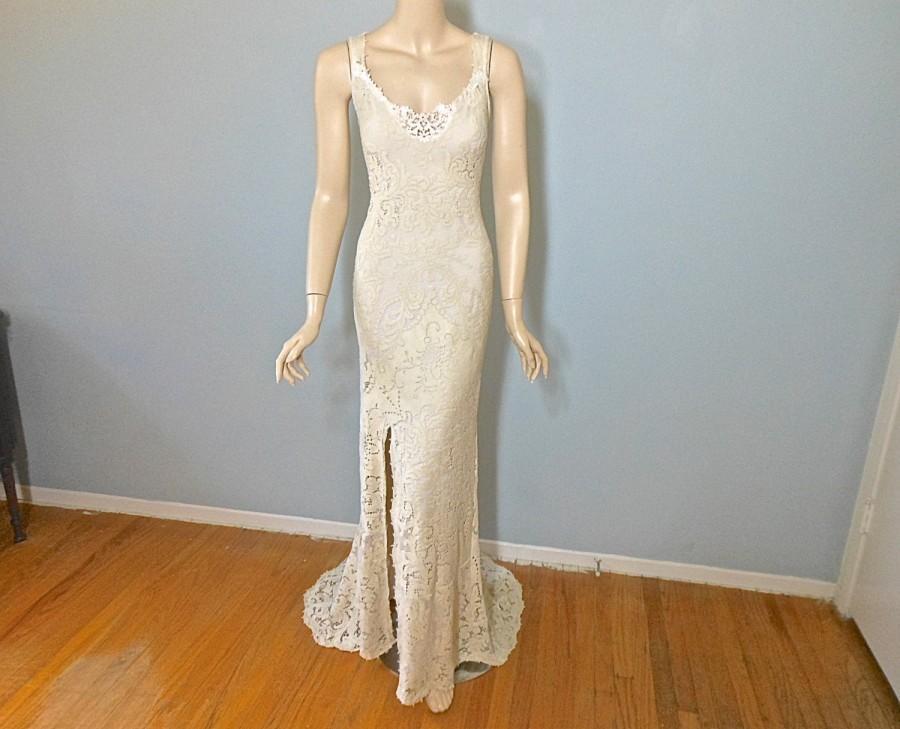Vintage Inspired Boho Wedding Gown FRONT Slit Lace Wedding
