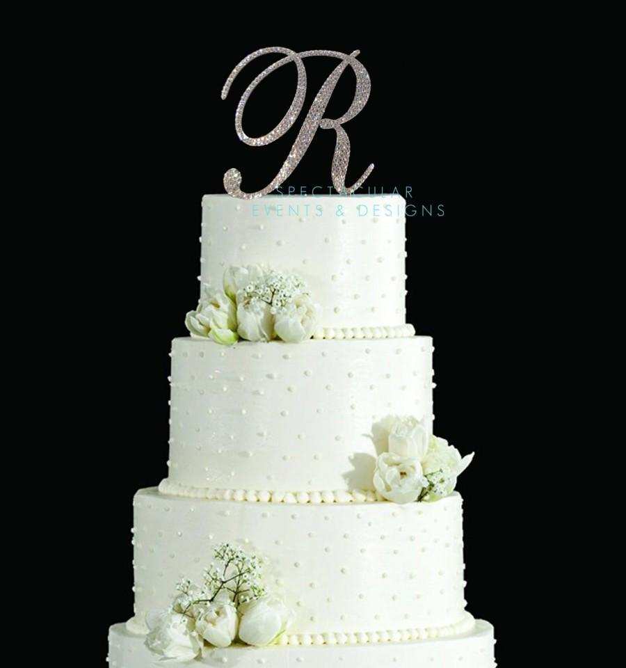 Mariage - 6 Inch Tall Monogram Wedding Cake Topper - Spectacular Fonts Crystal Swarovski Crystal Rhinestone Monogram Letter Cake Topper ANY LETTER