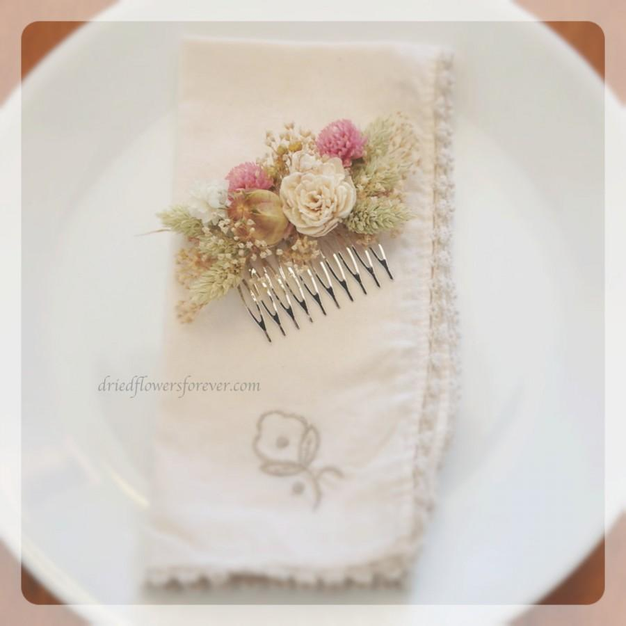 Mariage - Vintage Wildflower Collection - Hair Comb -  Dried and Preserved Flowers - Bride Wedding Arrangement