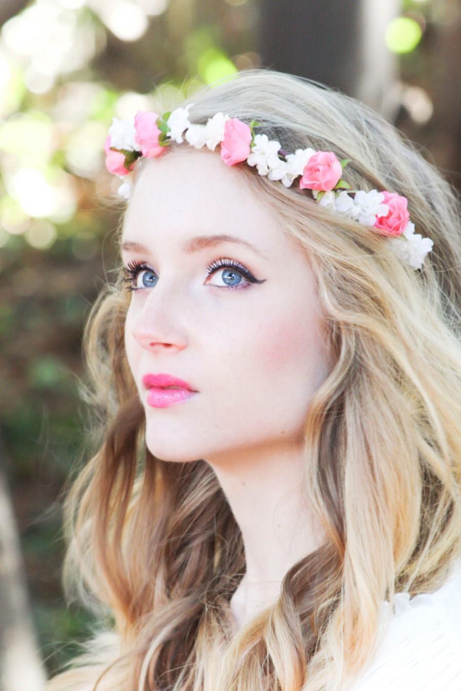Wedding Flower Bridal Hair Accessory Pink Roses Hair Wreath Silk