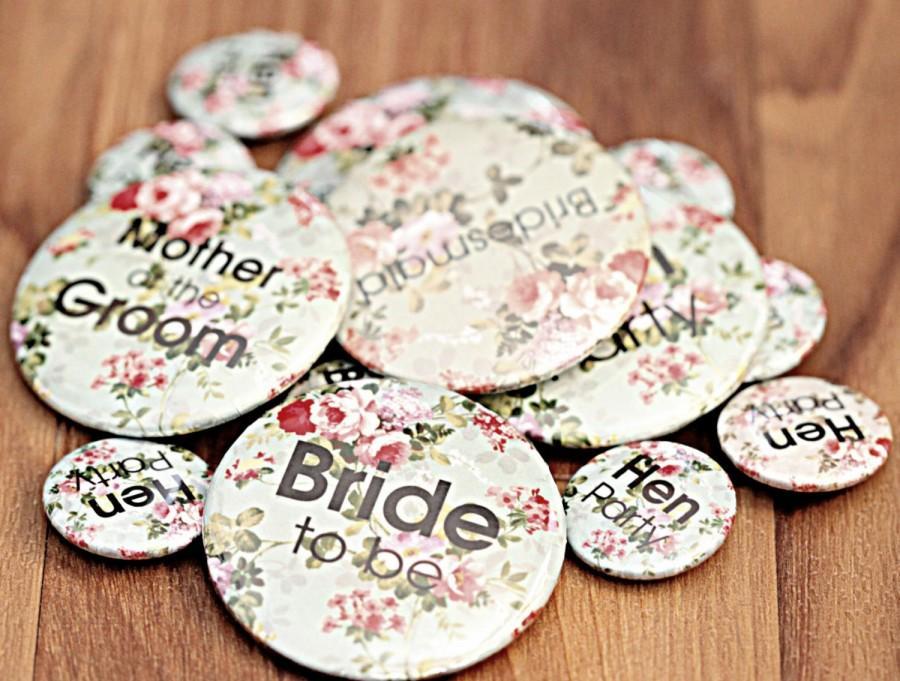 Wedding - Vintage Hen Party Badges (50mm)