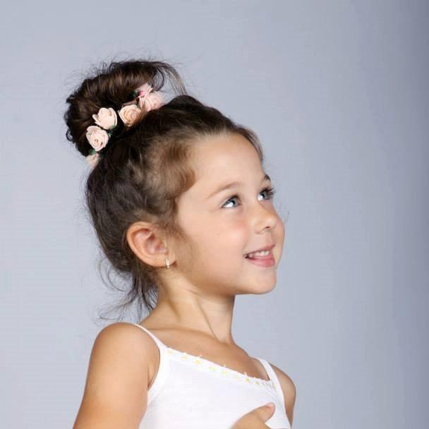 Mariage - Flower Girl Pink Roses Wreath, flower crown for hair bun, Flower tiara for high hair bun, Woodland Fairy Flower, ballerina