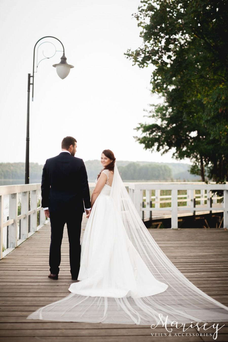 """Mariage - Cathedral single long veil, bridal veils, Cathedral Length single layer veil, Wedding Veil, Ivory Veil, white veil  """"Cathy"""""""