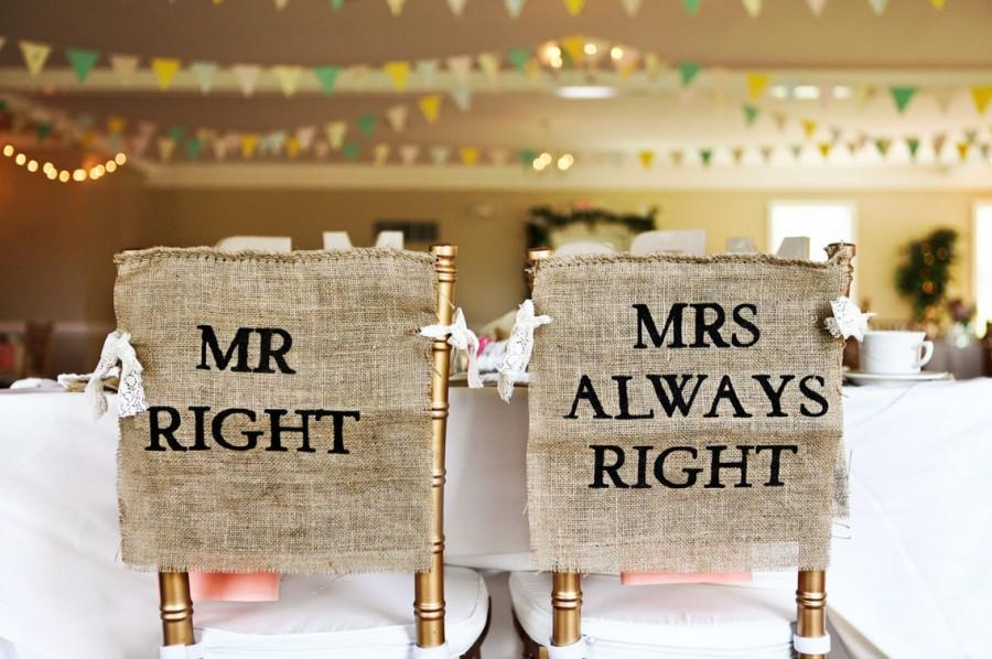 Admirable Burlap And Lace Mr Right Mrs Always Right Wedding Chair Pabps2019 Chair Design Images Pabps2019Com