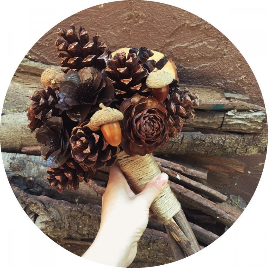 Свадьба - Pine cone bridal bouquet rustic country fall winter weddings