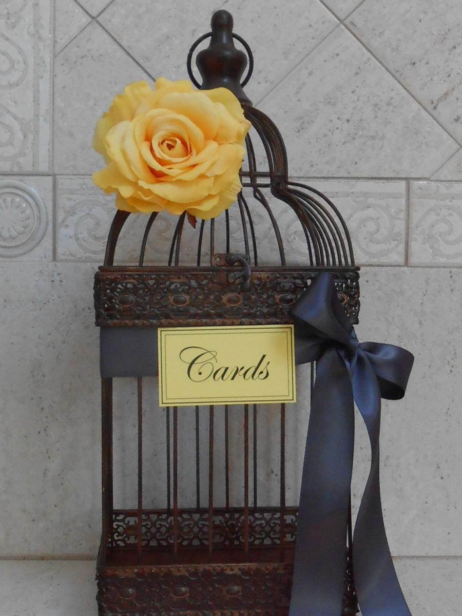 Birdcage Wedding Card Holder Yellow And Grey Wedding Wedding
