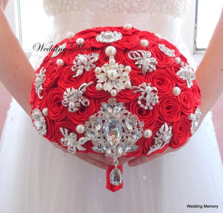 Wedding - RED brooch bouquet. Jeweled red bouquet.Deposit for Broach bouquet Bridal pearl wedding fabric flowers bouquet Bridesmaids Heirloom keepsake
