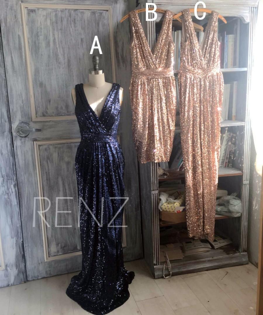 زفاف - 2015 Mix and Match Bridesmaid dress, Light Gold Black Sheath Luxury Sequin Evening dress, Metallic Sparkle Wedding dress (TQ150B/D/C)