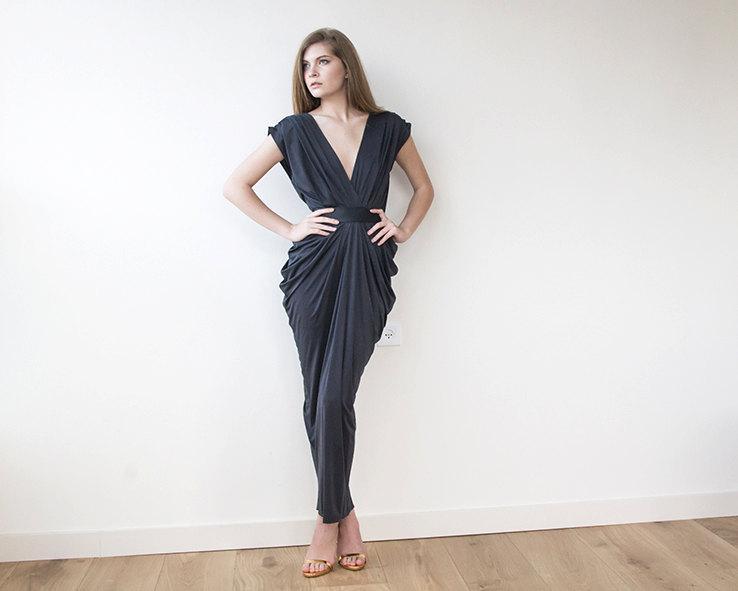 Dark Gray Maxi Formal Dress Maxi Short Sleeves Grey Gown 2445885