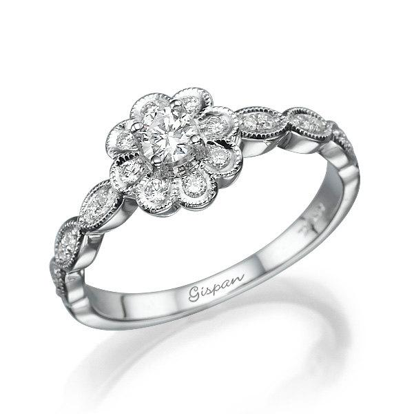 Свадьба - Flower Ring 14k White Gold With Diamonds, Engagement Ring, Flower Engagement Ring, Flower engagement ring leaf, Promise Ring, Gispandiamonds