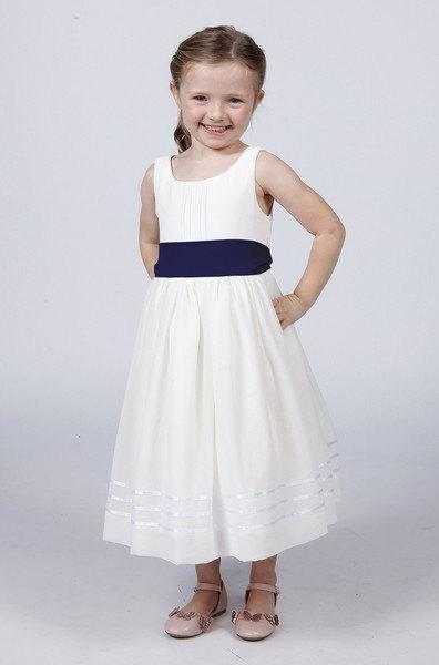 White Flower Girl Dress With Navy Blue Sash 119