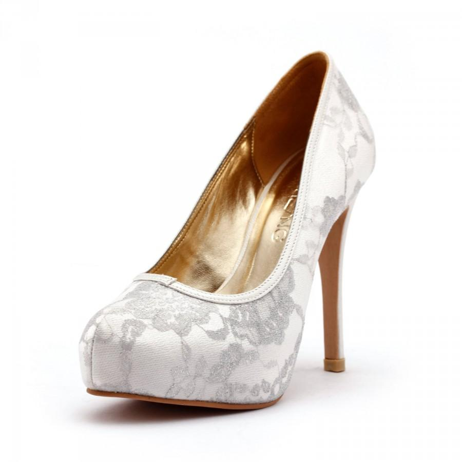 Lady Romance Ivory Closed Toe Wedding Heels White Wedding Shoes