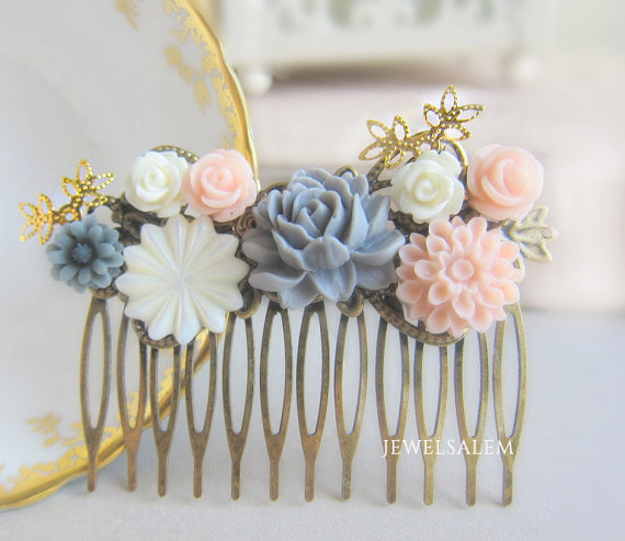 bridal hair comb soft pastel wedding chintz bridal hair slide with