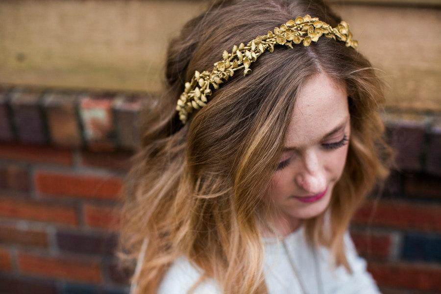 Mariage - Gold Lilly of the Valley Circlet Halo. Flower hair Crown, Wedding, Bohemian,Tiara, spring, Bridal Headpiece, gold headpiece