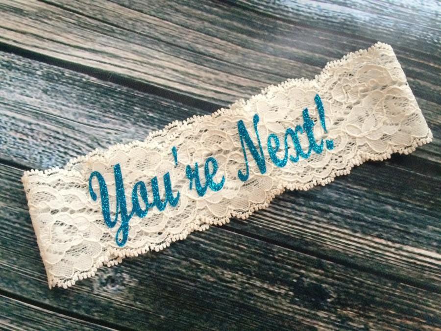 Hochzeit - YOU'RE NEXT ™ Bling Toss Garter / Wedding Garter / lace garter / Something Blue