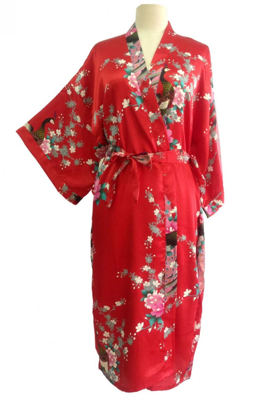 Kimono Robes Bridesmaids Silk Satin Red Colour Paint Peacock Desigh Pattern Gift Wedding Dress For Party Free Size 2446007 Weddbook