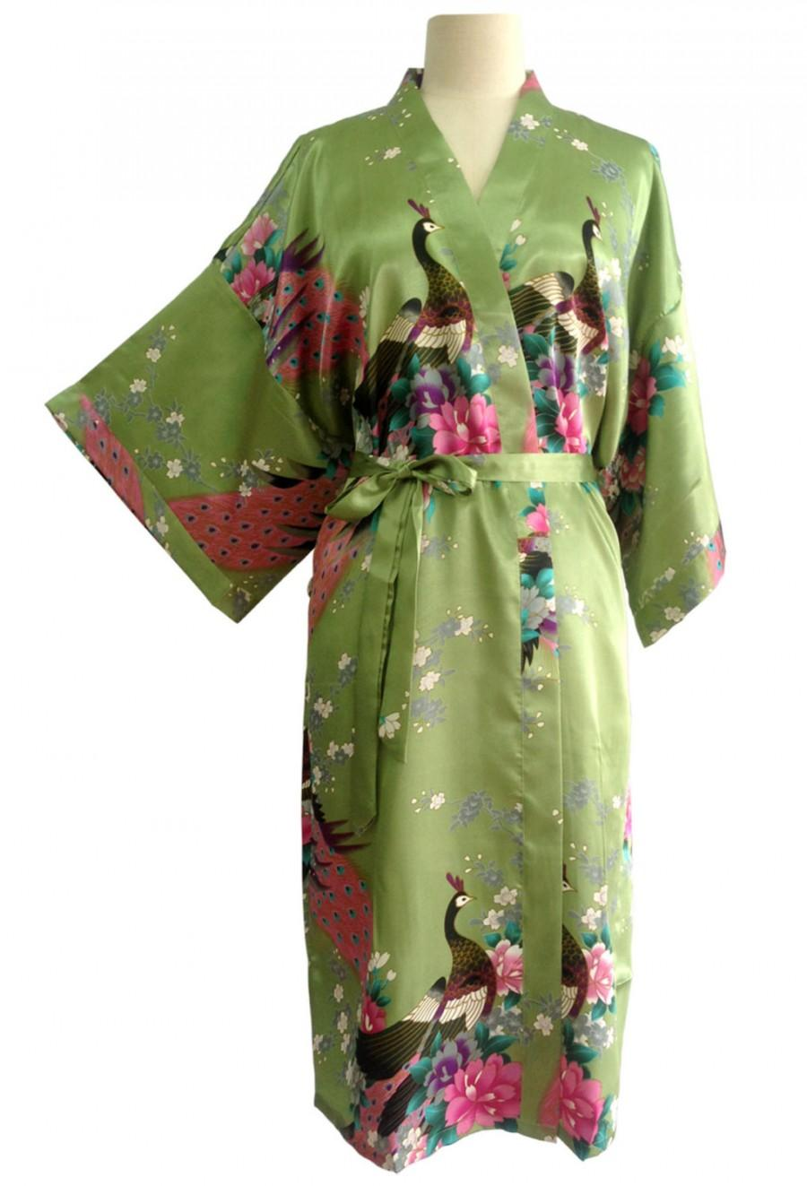 Düğün - On Sale Kimono Robes Bridesmaids Silk Satin Green Colour Paint Peacock Design Pattern Gift Wedding dress for Party Free Size