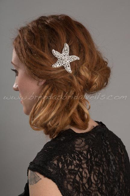 Mariage - Rhinestone Starfish Hair Comb, Beach Wedding Hairpiece - Raelyn