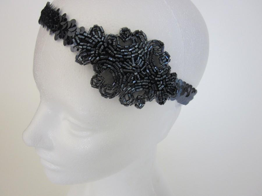 Mariage - Gatsby Headband flapper headpiece, costume, halloween sequined sequins 1920s Great Gatsby Dress 1920s Beaded Headpiece Pewter Dark Gray