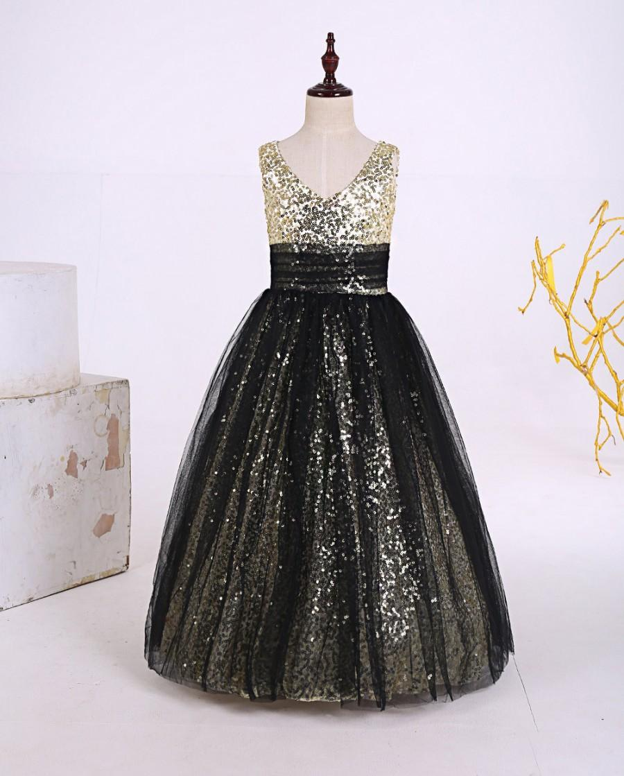 Boda - Cute floor length champagne sequin black tulle flower girl dresses,little girl princess dress,baby girl's dress,tutu,long flower girl dress