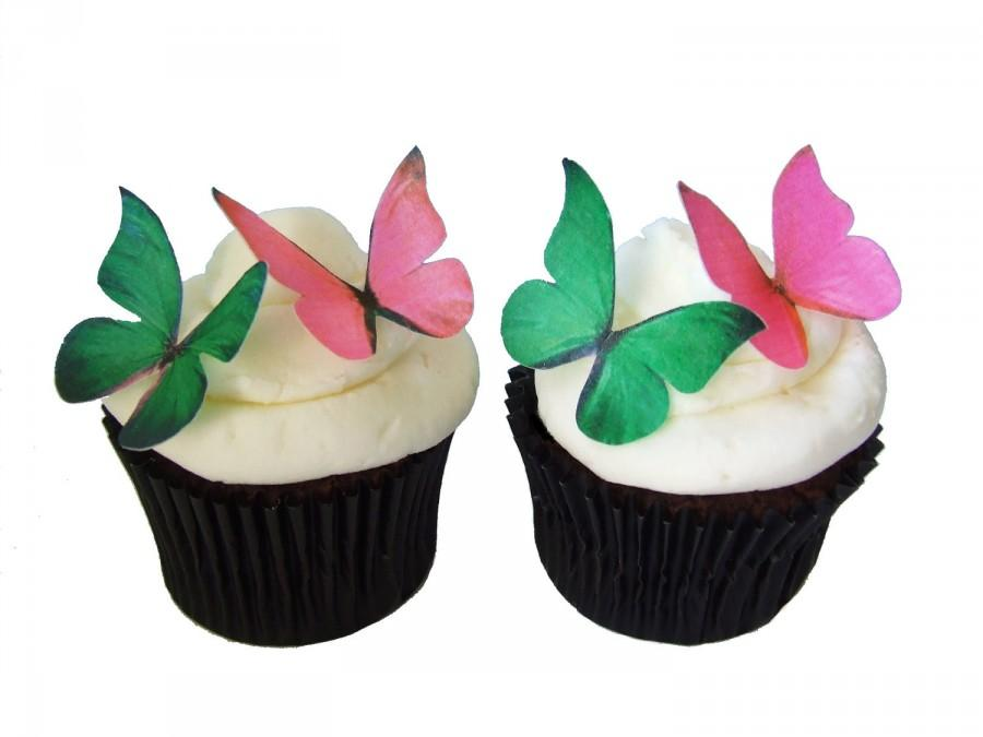 edible cake toppers 24 edible butterflies in hot pink and green cupcake shop supply store bakery supplies