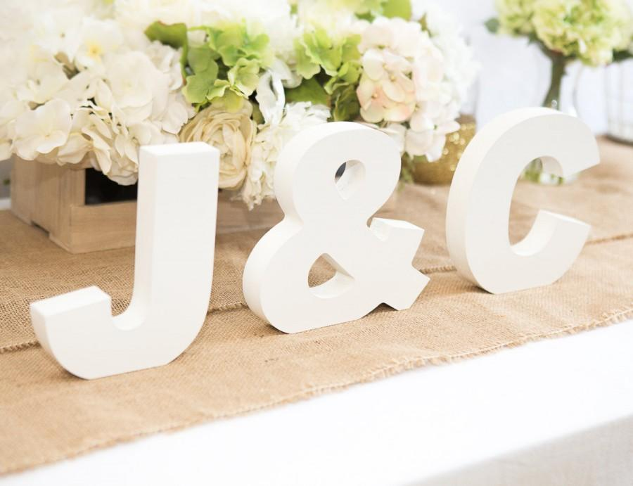 wooden letters freestanding wedding initial signs personalized table signs initials 2 letters and ampersand item ini400