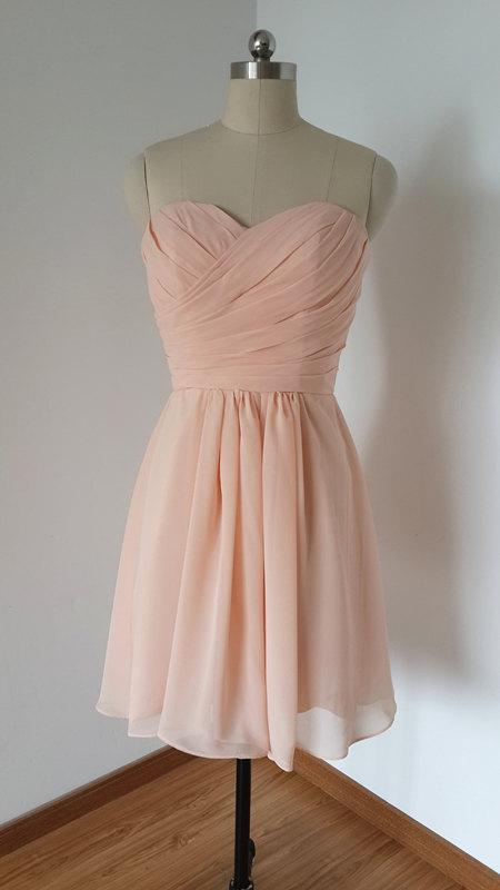 Mariage - 2015 Sweetheart Light Peach Chiffon Short Bridesmaid Dress