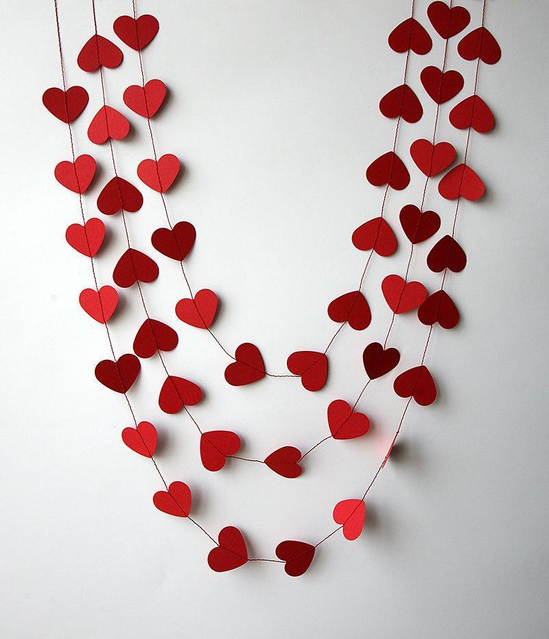 Valentine decor heart garland valentines day decor for Decoration valentine