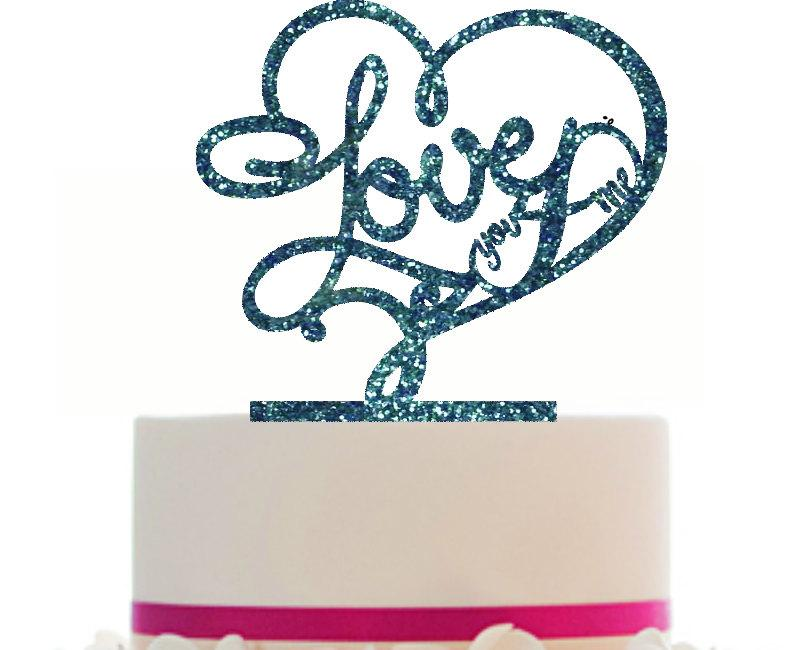 Hochzeit - Custom Wedding LOVE Cake Topper with infinity sign, choice of color, Removable spikes and a FREE base for table display