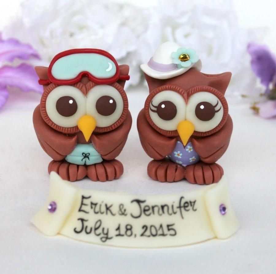 Beach Wedding Owl Cake Topper, Personalized Love Birds With Banner ...
