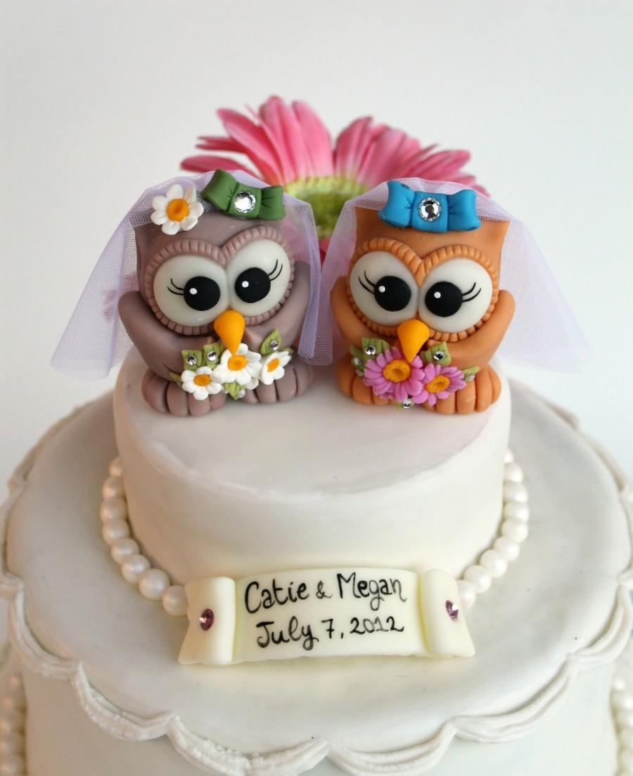 Custom Same Sex Owl Wedding Cake Topper Two Cute Brides