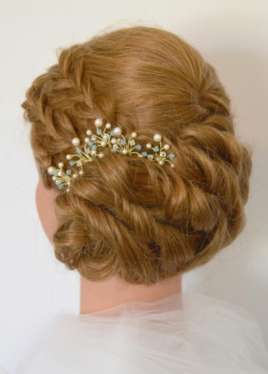 Hochzeit - Aqua Crystal Bridal Hair Pins, Something Blue Wedding Hair Accessories, Pacific Opal Bridal Hair Pins, Blue Crystal Hair Accessories