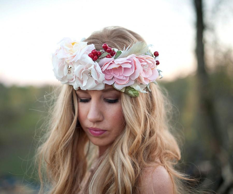 Hochzeit - Romance flower crown large bridal halo YOU CHOOSE the options