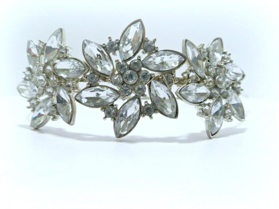 Hochzeit - RHINESTONE Art Deco Cluster Bridal Headpiece, Statement Headband, Statement Headpiece, Bling Headpiece, Rhinestone Hair Accessories
