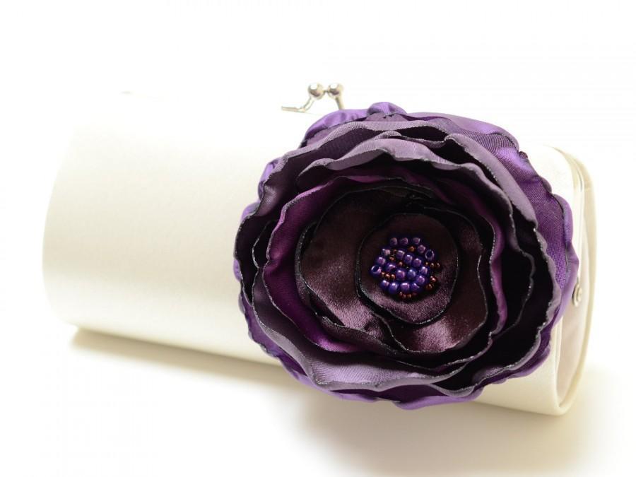 زفاف - Ivory Clutch - Bridal Clutch - Bridesmaid Clutch -  Bouquet Clutch - Magenta Eggplant & Amethyst Purple Flower