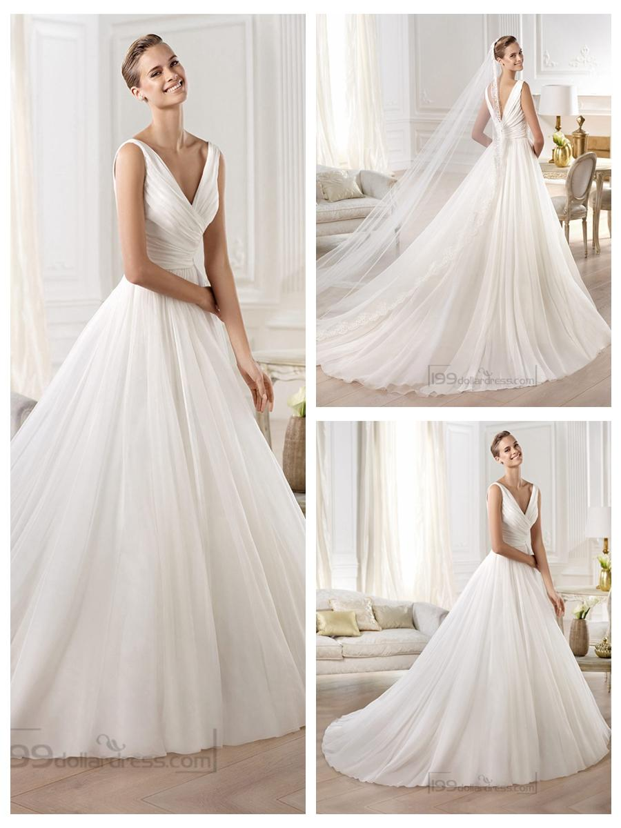Gorgeous V-neck And V-back Draped Ball Gown Wedding Dresses #2446161 ...