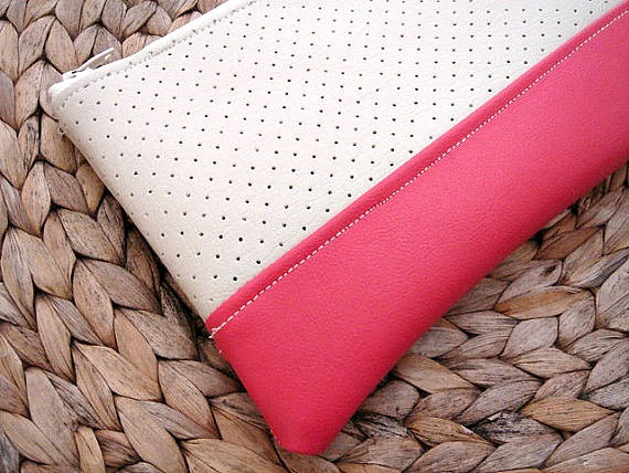 Mariage - Coral red clutch bag faux leather clutch hot pink vegan leather clutch bridesmaid gift idea strawberry red sand oatmeal clutch holiday gift
