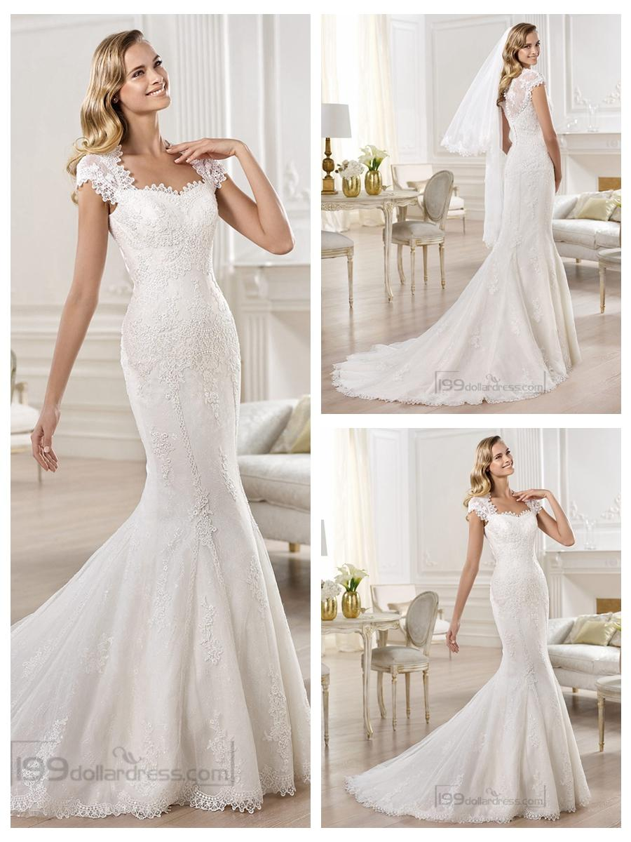 Cap Sleeves Straight Straps Neckline Mermaid Wedding Dresses Featuring Lique Crystal