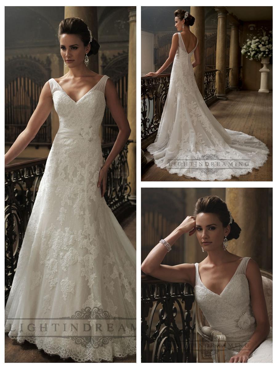 Wedding - Ruched Straps A-line V-neck and V-back Wedding Dresses