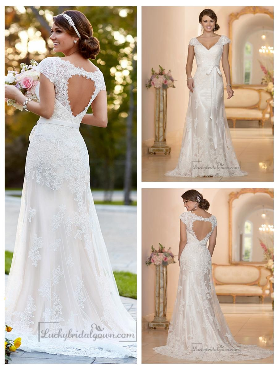 Свадьба - Lace Over Illusion Cap Sleeves V-neck Wedding Dresses with Keyhole Back