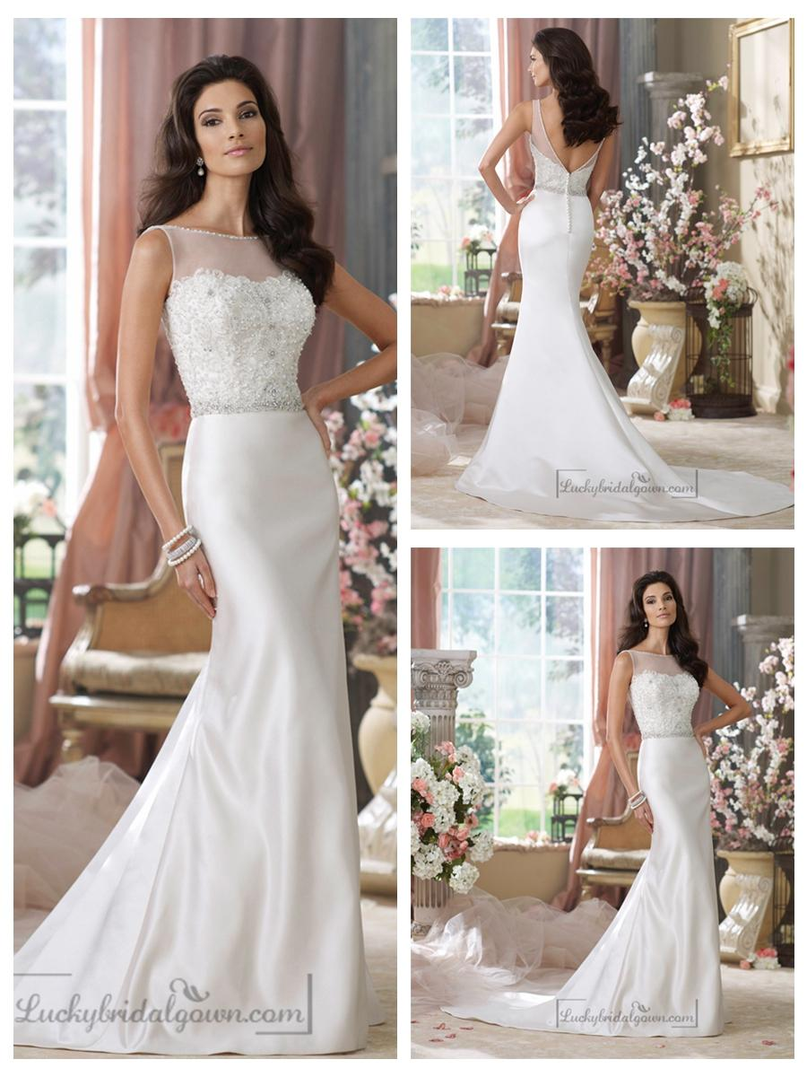 Свадьба - Illusion Bateau Neckline Embroidered Mermaid Wedding Dresses with Deep V-back