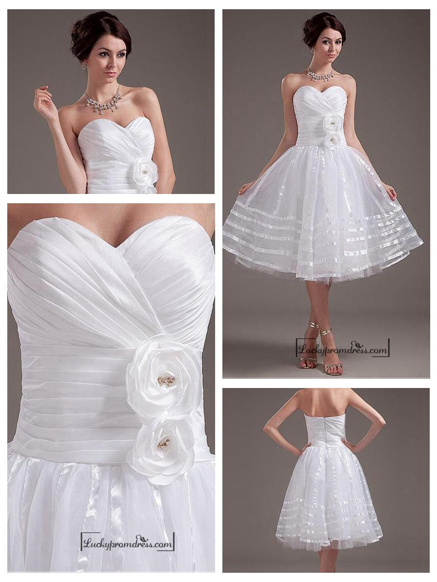 Hochzeit - Beautiful Taffeta & Organza & Tulle & Mercerized Belt A-line Sweetheart Tea Length Wedding Dress
