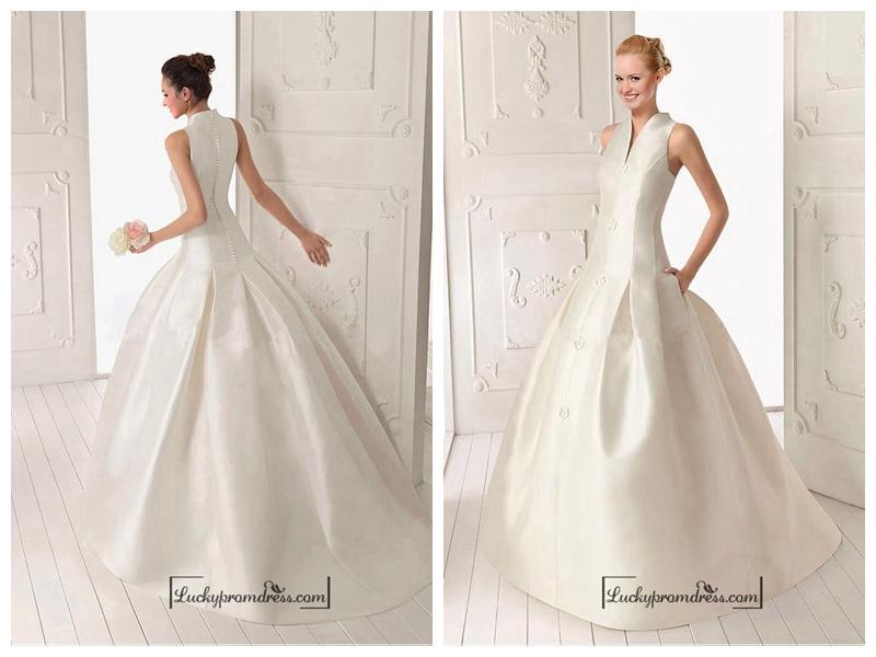 Wedding - Beautiful Satin ball gown V-neck Natural Waist Wedding Dress With Handmade Flowers