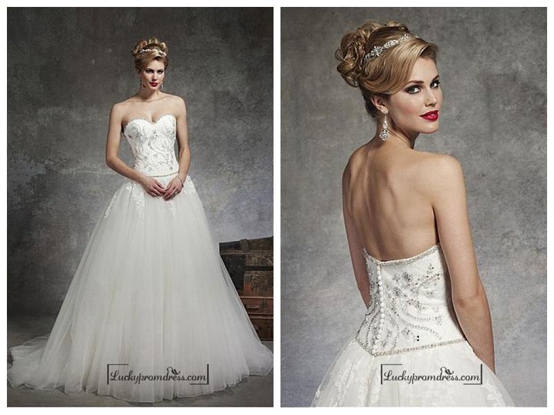 Mariage - Beautiful Satin & Tulle Ball Gown Sweetheart Neck Dropped Waistline Wedding Dress