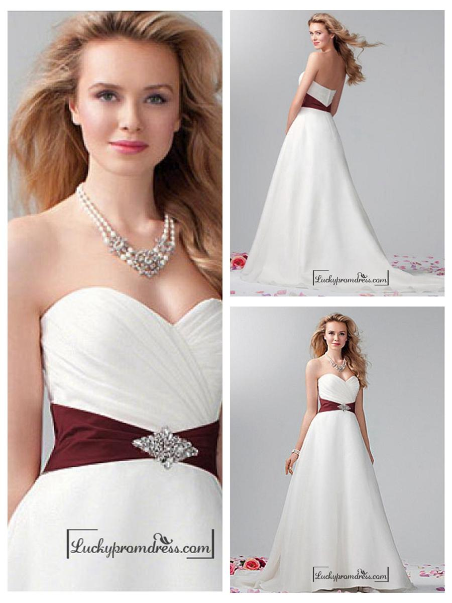 Wedding - Beautiful Organza Satin & Satin A-line Sweetheart Neck Raised Waistline Wedding Dress
