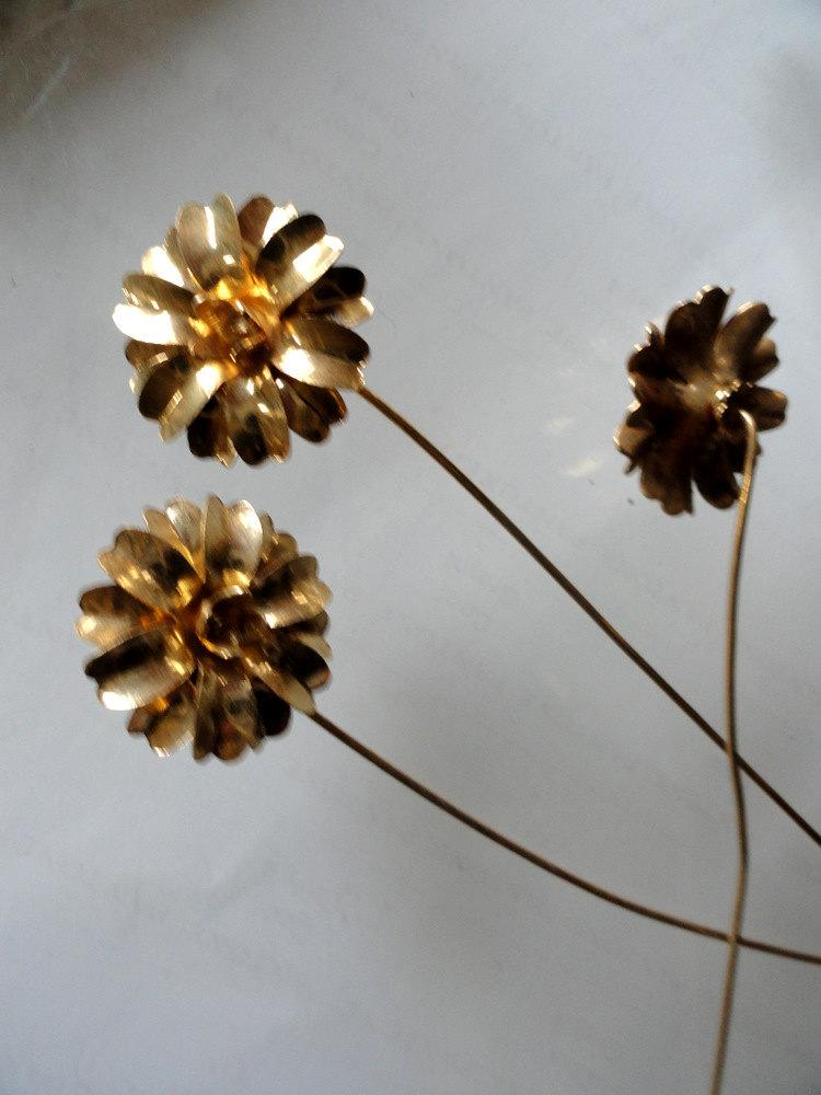 Mariage - Gold Plated Posy on a Wire ( 3 pc)