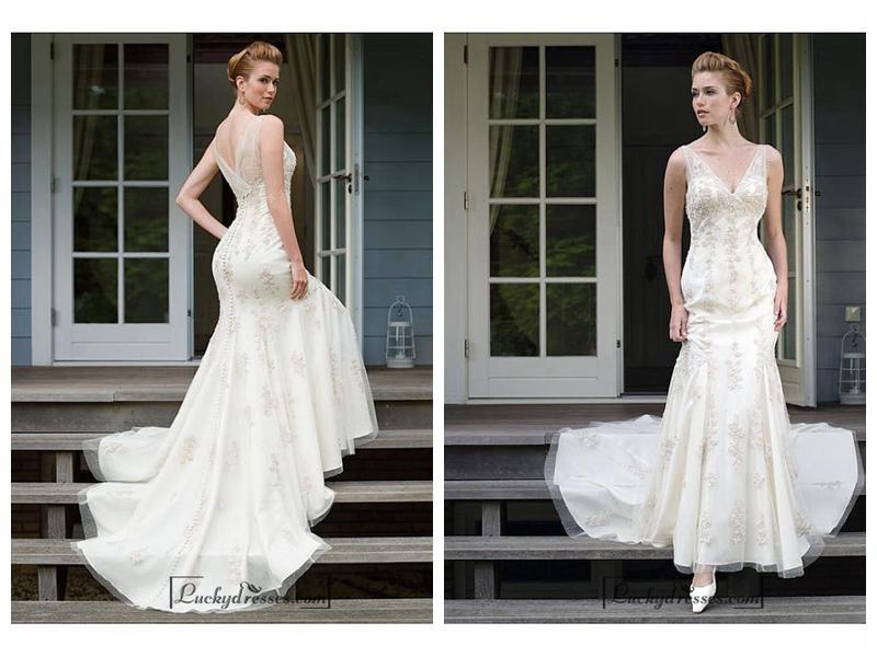 زفاف - Beautiful Elegant Tulle Mermaid/trumpet V-neck Wedding Dress In Great Handwork