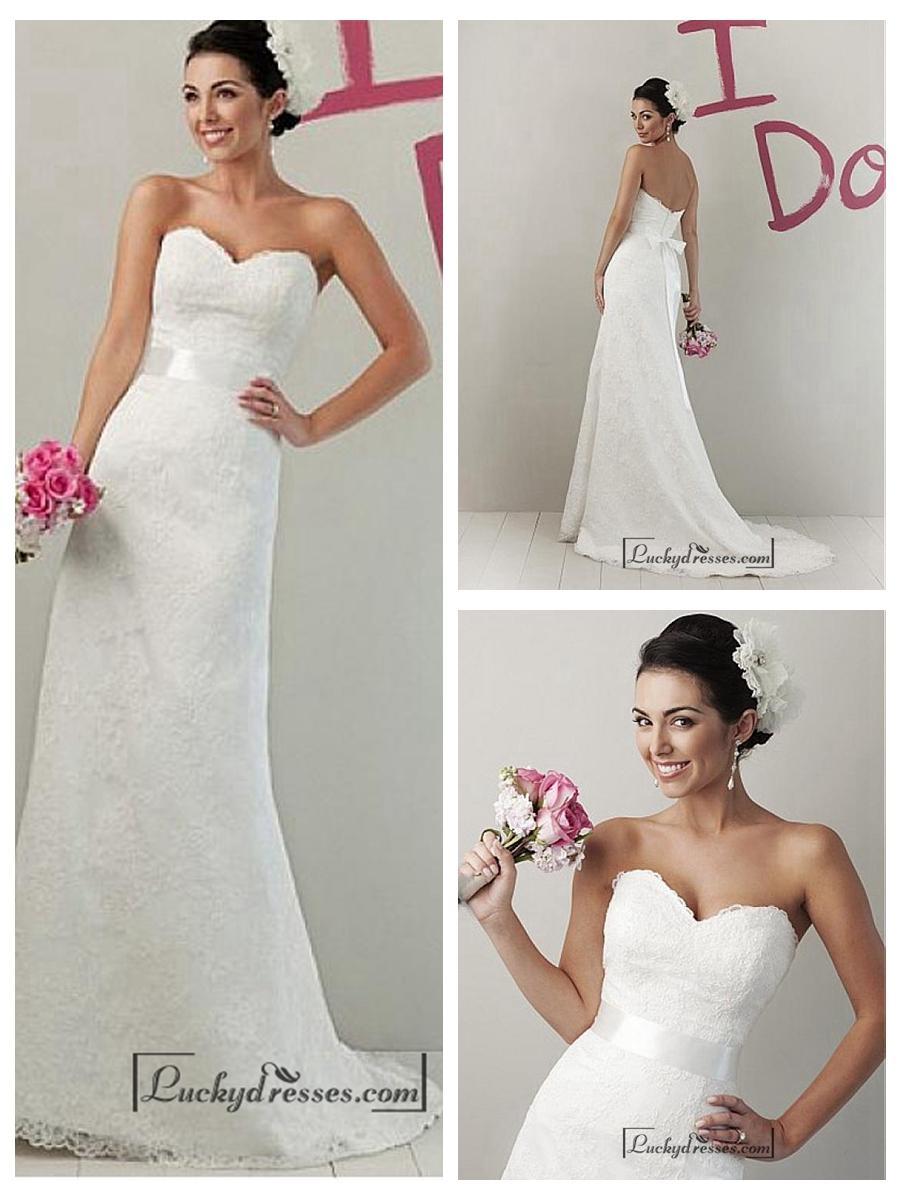 Boda - Beautiful Lace & Satin Sheath Sweetheart Raised Waist Wedding Dress