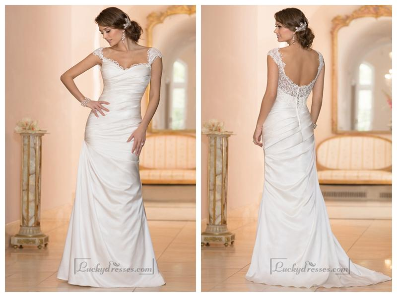Classic Illusion Cap Sleeves Sweetheart Ruched Bodice Wedding