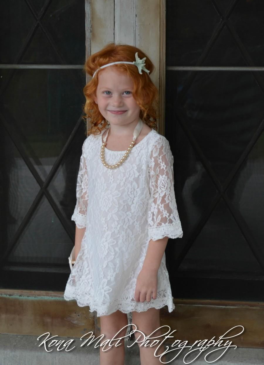 Mariage - Special Set -The Autumn Lace Flower Girl Dress and Pearl Bracelet for toddlers & girls sizes 1T,2T,3T,4T,5T,6,7/8,9/10,11/12,13/14